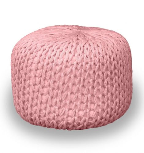 BABY PINK FOOT STOOL MOROCCAN CUBE OTTOMAN HANDMADE CHUNKY 100% COTTON KNITTED POUFFE
